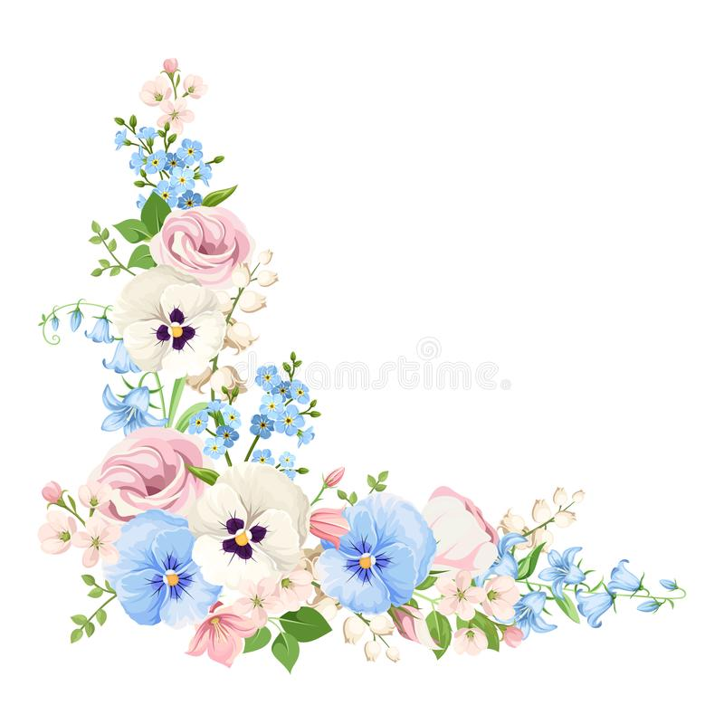 Pink, blue and white flowers. Vector corner background. stock illustration