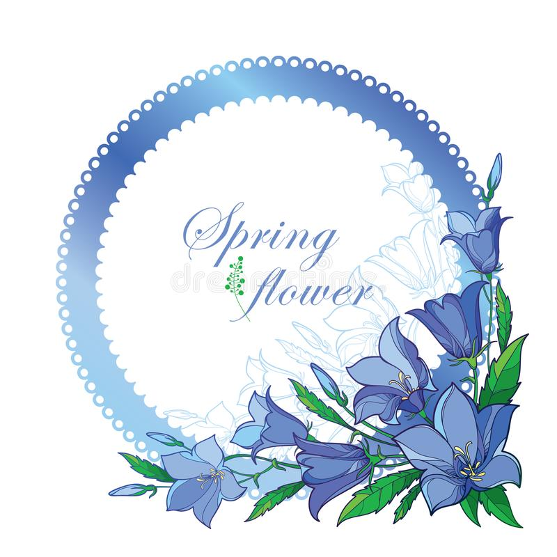 Vector corner bouquet with outline Campanula or Bellflower or Bluebell flower in pastel blue, ornate leaf and bud isolated. Vector corner bouquet with outline royalty free illustration