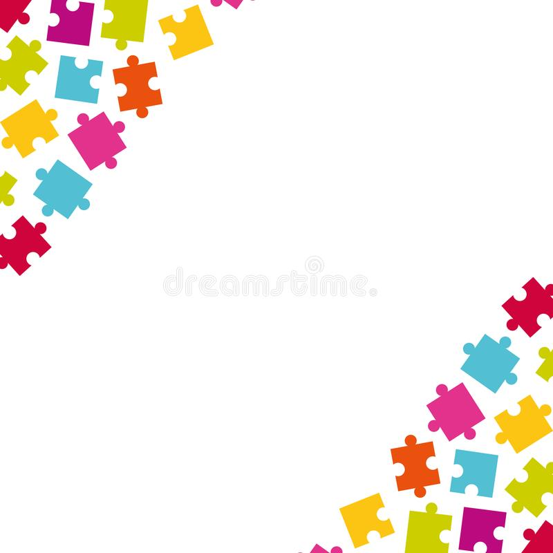 Download Corners Of Colorful Jigsaw Puzzle Pieces Stock Vector