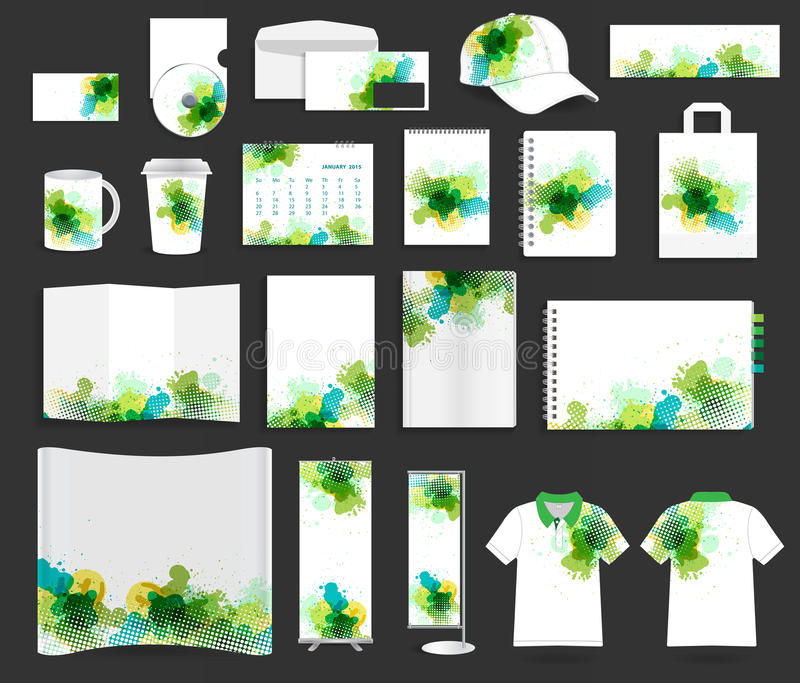 Vector corporate identity templates. Corporate identity templates, With blank name card, envelope, mugs, calendar, notebook paper, folded paper, open book stock illustration