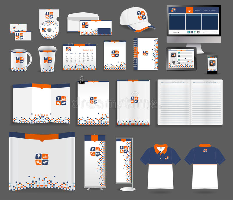 Vector corporate identity templates. Corporate identity templates, With blank name card, envelope, mugs, mobile phone, tablet, calendar, notebook paper, folded royalty free illustration