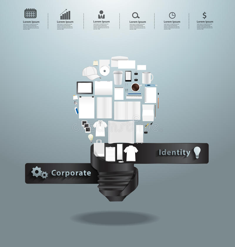 Vector corporate identity templates with creative light bulb idea. Corporate identity templates with creative light bulb idea, With blank name card, mugs stock illustration