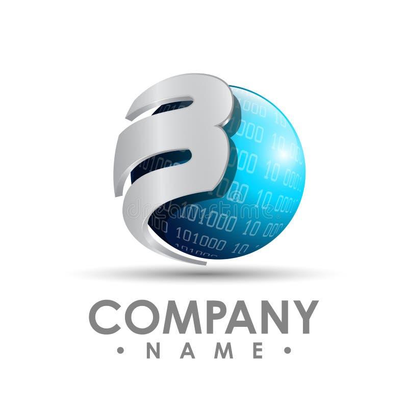 vector corporativo del diseño del logotipo de la letra b del negocio 3D Lett colorido stock de ilustración