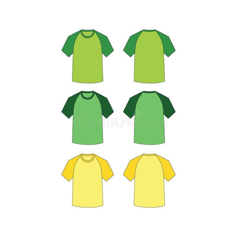 Vector corto de las camisetas del raglán ilustración del vector