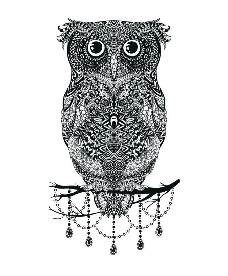 Vector a coruja tirada da mão preta que senta-se na ilustração do ramo ilustração royalty free