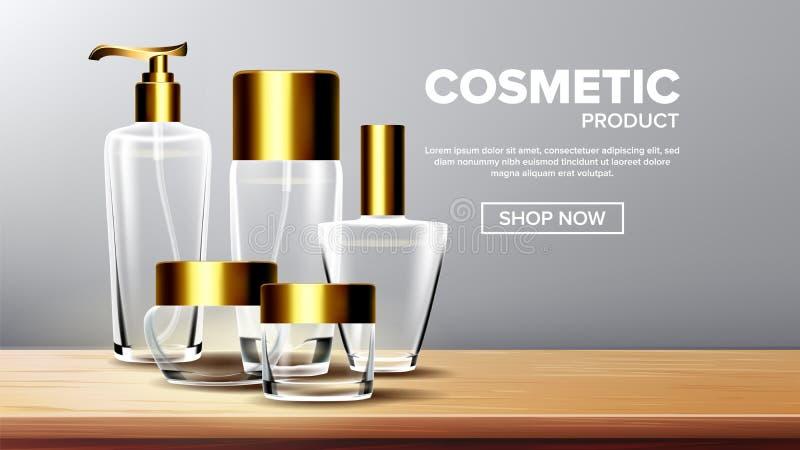 Vector cosmético del producto de cristal Crema hidratante médica Lujo, moda Botella tarro 3D aisló realista transparente stock de ilustración