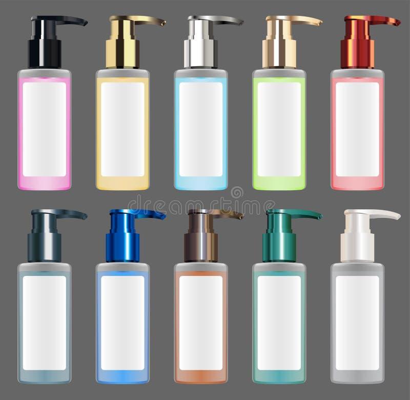Vector cosmético líquido metálico colorido real del tubo ilustración del vector