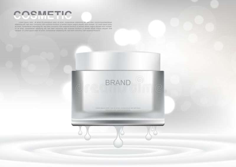 Vector cosmetic ads white lifting cream on white bokeh background royalty free illustration