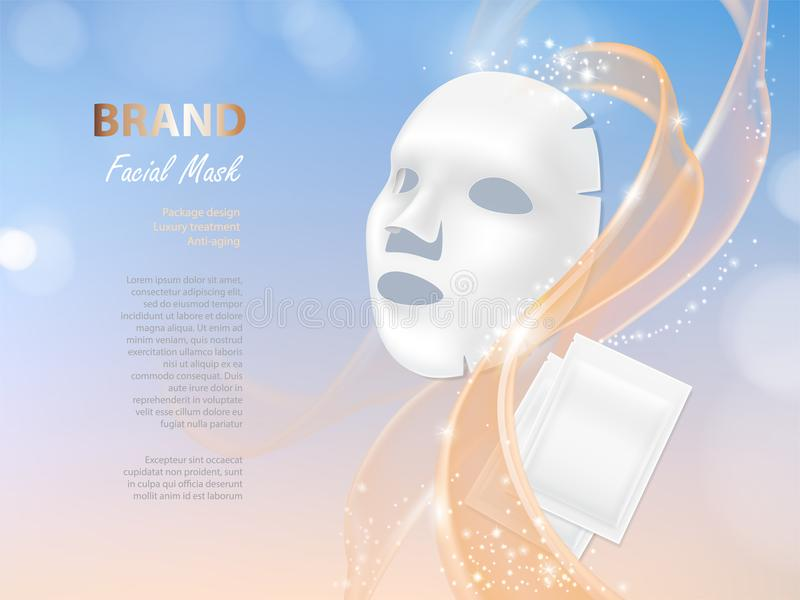 Vector cosmetic banner with 3d vector facial mask. Vector cosmetic banner with 3d realistic vector facial mask and white package for it isolated on colorful royalty free illustration