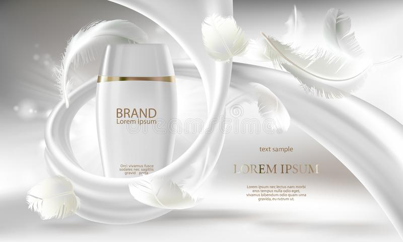 Vector cosmetic banner for promotion your brand. Vector cosmetic banner with 3d realistic white bottle for skin care cream or body lotion, ready mockup for royalty free illustration
