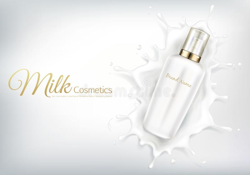 Vector cosmetic banner with white bottle in milk swirl stock illustration