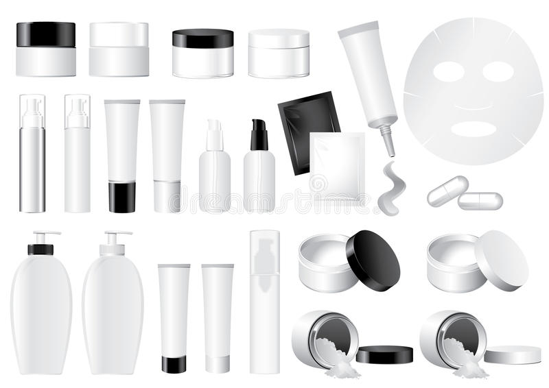 Vector Cosmetic Container dummy. Vector blank black and white Cosmetic Container dummy stock illustration