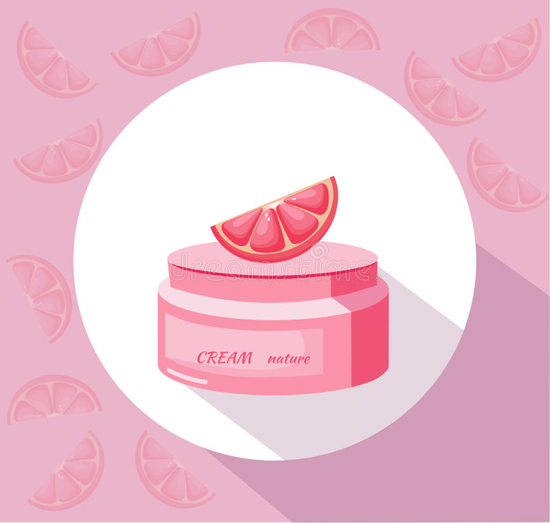Vector Cosmetics grapefruit cream package icons. Hydration lotion. Perfect for advertising, flyer, banner, poster. 2d. Illustrations stock illustration