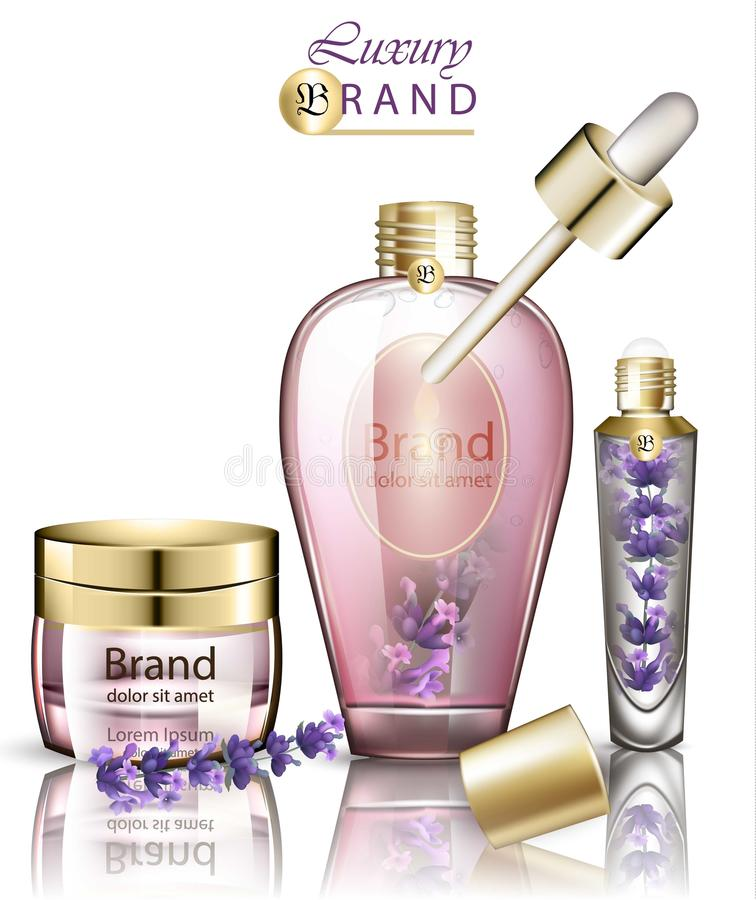 Vector cosmetics realistic lavender products mock up. Lavender flower oil and creams. Product packaging designs. Vector cosmetics realistic lavender products stock illustration