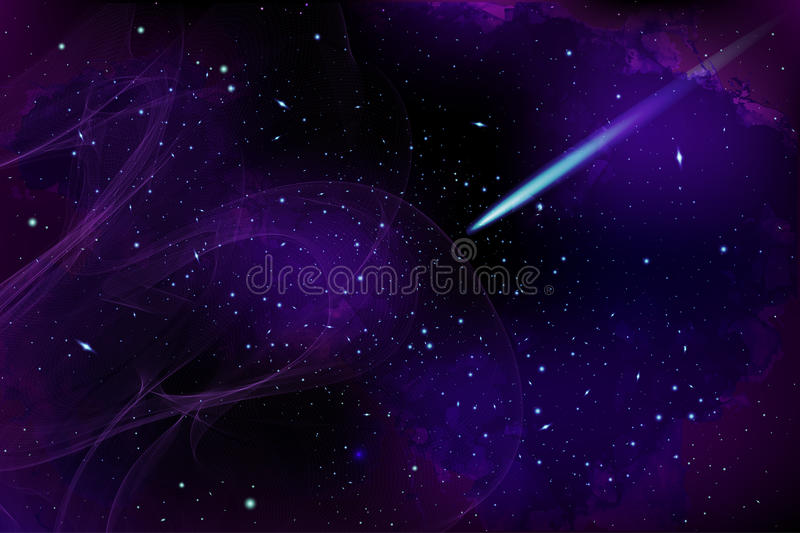 Vector Cosmology Illustration with Universe, Galaxy, Sun, Planet. S and Stars. Can be used for Invitation or Booklet. Futuristic view with Depth and Space vector illustration