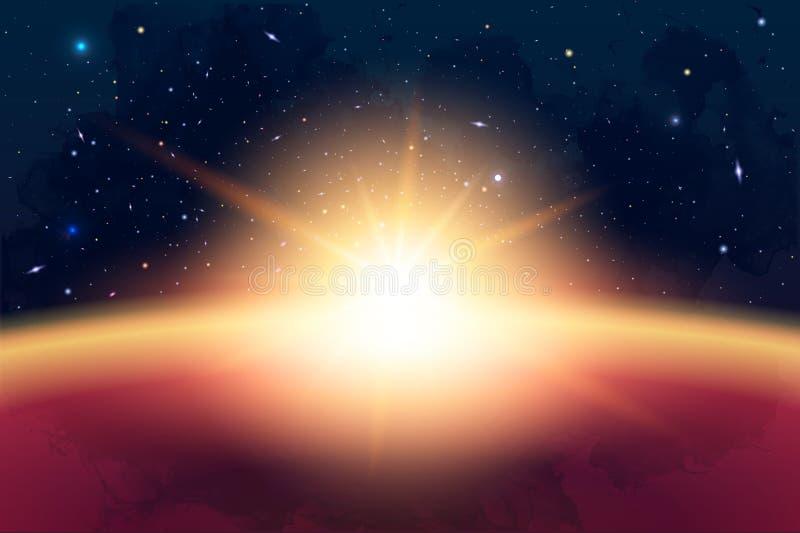 Vector Cosmology Illustration with Universe, Galaxy, Sun, Planet stock illustration