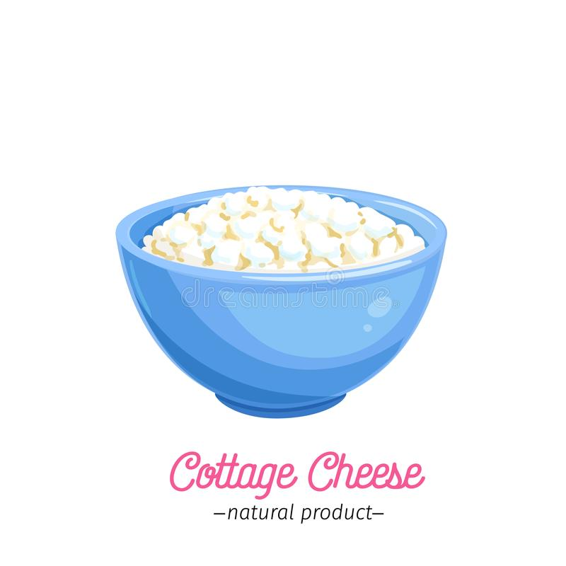 Vector cottage cheese icon. Dairy product illustration for design menu and market. Cartoon style vector illustration