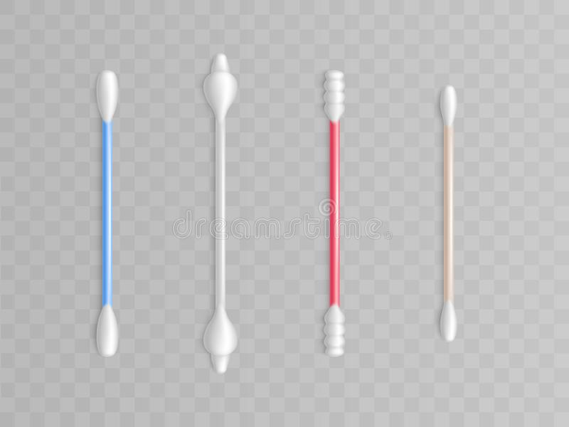 Vector cotton buds. Realistic toiletries, plastic rod. Vector collection of cotton buds - different forms and types for cleanliness. Realistic toiletries royalty free illustration