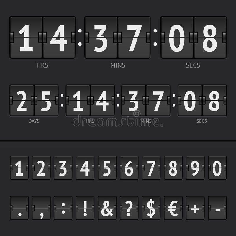 Vector countdown timer and scoreboard numbers royalty free illustration