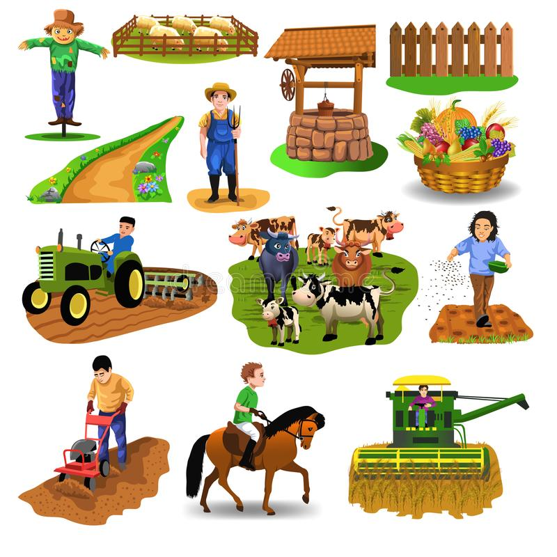 Vector countryside set of clip arts like harvester, sowing seeds, riding a horse, plowing, farm animals, well, farmer, tilling the royalty free illustration