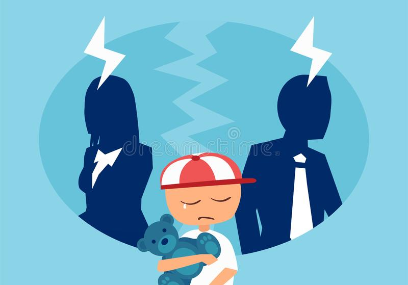 Vector of a couple man and woman having an argument with a stressed crying child in the middle. stock illustration
