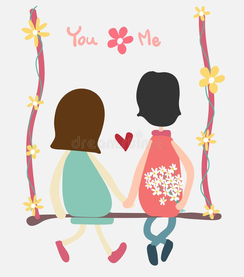 Vector couple sit on swing holding hand and flower. Vector couple sit on swing holding hand and daisy flower royalty free illustration