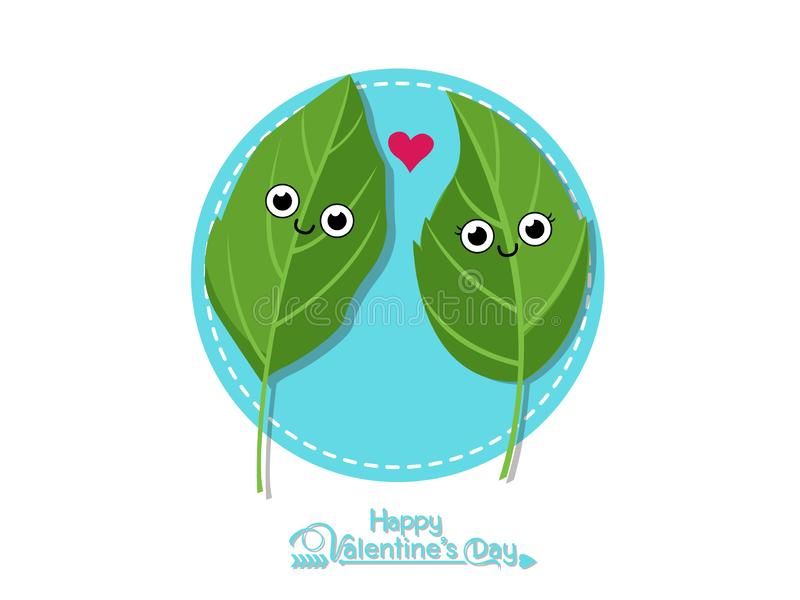 Vector Couples Leaves romantic. Happy Valentine`s Day. illustration decorative element on Valentine. Seasonal & Holiday royalty free illustration