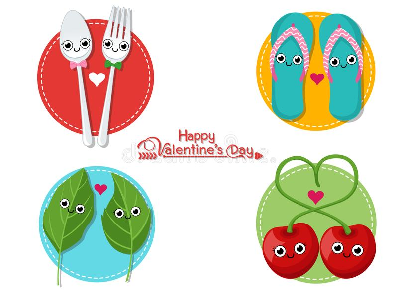 Vector Couples romantic collection. Happy Valentine`s Day. illustration decorative element on Valentine. Seasonal stock illustration