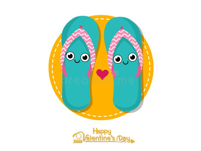 Vector Couples shoes romantic. Happy Valentine`s Day. illustration decorative element on Valentine. Seasonal & Holiday stock illustration