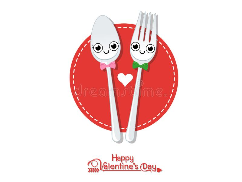 Vector Couples Spoon with fork romantic. Happy Valentine`s Day. illustration decorative element on Valentine. Seasonal & Holiday vector illustration