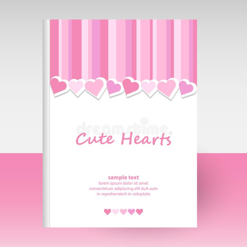 Vector cover of diary hardcover - format A4 layout brochure concept - cute pink striped pattern with lovely valentine royalty free illustration