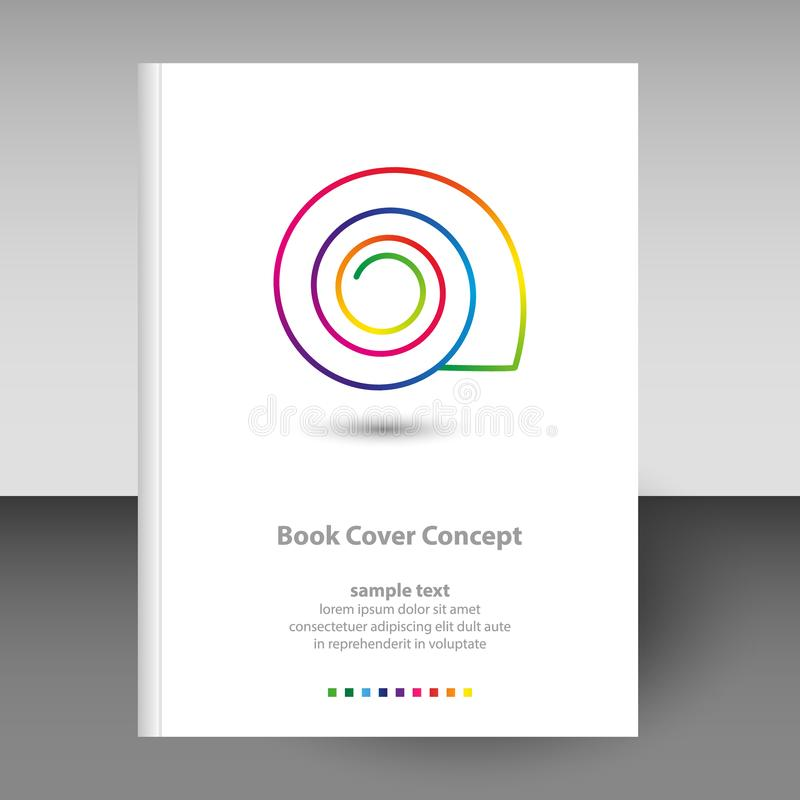 Vector cover of diary or notebook format A4 layout brochure concept - shell line art icon rainbow full color spectrum royalty free illustration