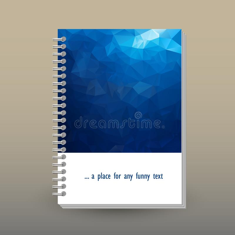 Vector cover of diary with ring spiral binder - format A5 - layout brochure concept - deep sea dark blue colored - po stock illustration