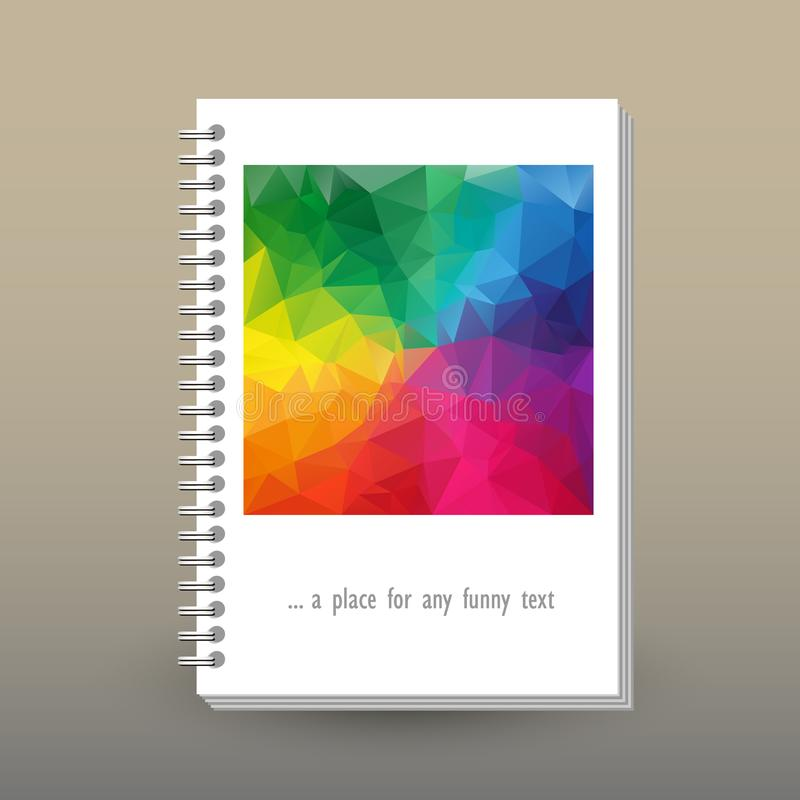 Vector cover of diary with ring spiral binder - format A5 - layout brochure concept - full color spectrum colored with vector illustration