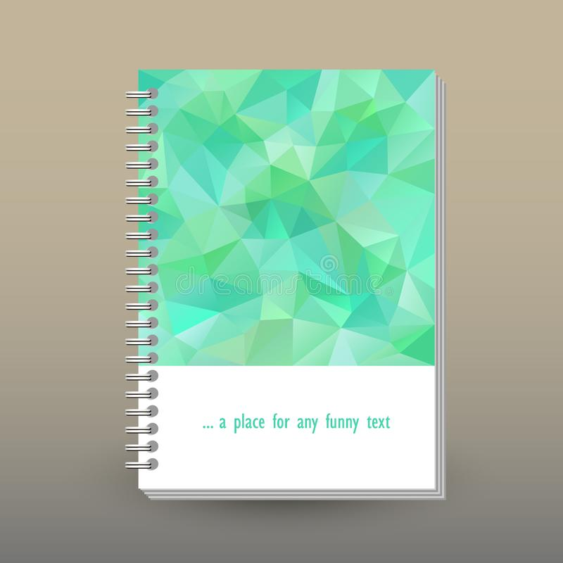 Vector cover of diary with ring spiral binder - format A5 - layout brochure concept - mint green colored - polygonal t stock illustration