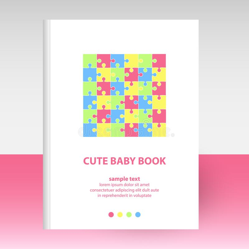 Vector cover of diary white hardcover - format A4 layout brochure concept - baby puzzle pattern - pastel colors pink, royalty free illustration