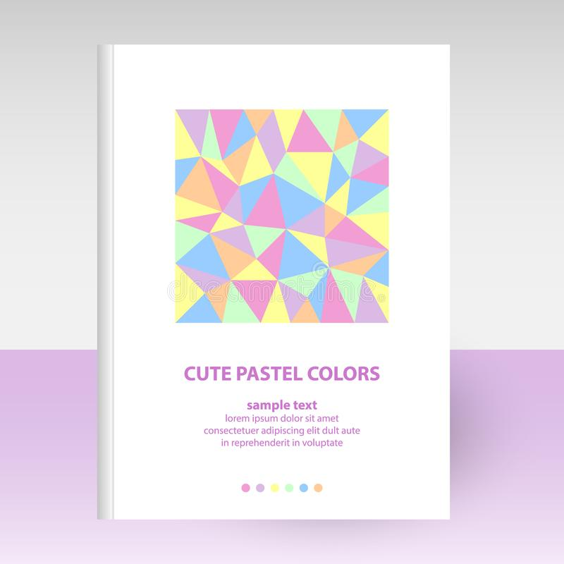 Vector cover of diary white hardcover - format A4 layout brochure concept - cute pastel colored with polygonal triangl stock illustration