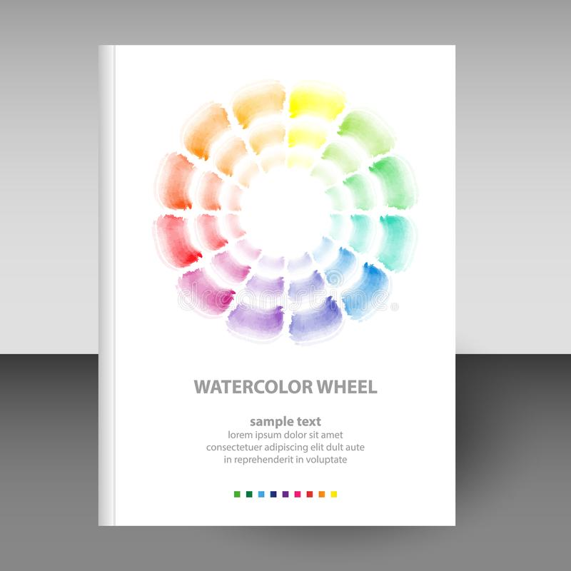 Vector cover of diary white hardcover - format A4 layout brochure concept - watercolor round schema wheel - basic colo. Vector cover of diary or notebook white vector illustration