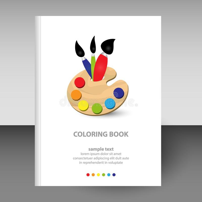 Vector cover of diary white hardcover - format A4 layout brochure concept - wooden coloring painter palette with brush vector illustration