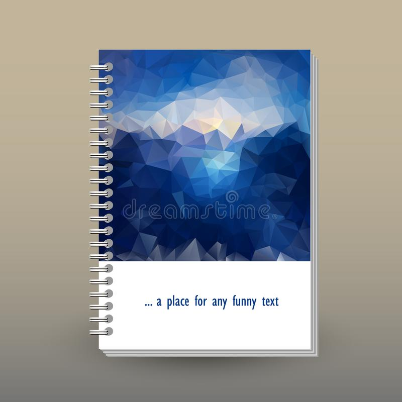 Vector cover of diary with ring spiral binder - format A5 - layout book concept - blue sky above sea level - sunrise stock illustration