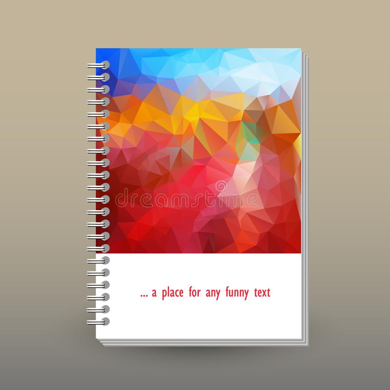 Vector cover of diary with ring spiral binder - format A5 - layout brochure concept - blue sky over red, orange and ye stock illustration