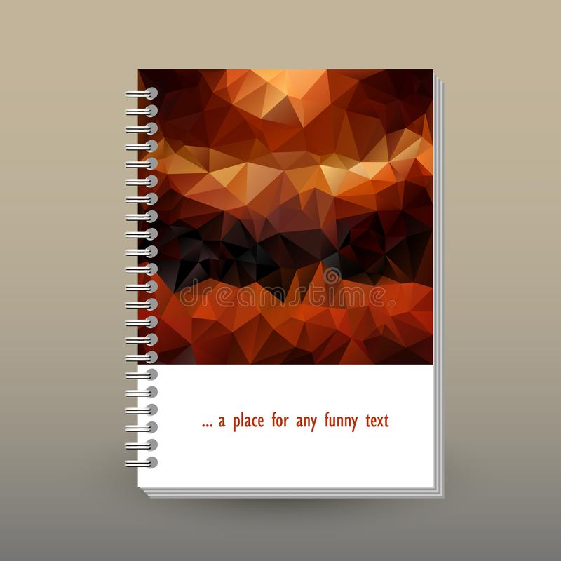 Vector cover of diary with ring spiral binder - format A5 - layout brochure concept - brown and orange colored with vi vector illustration