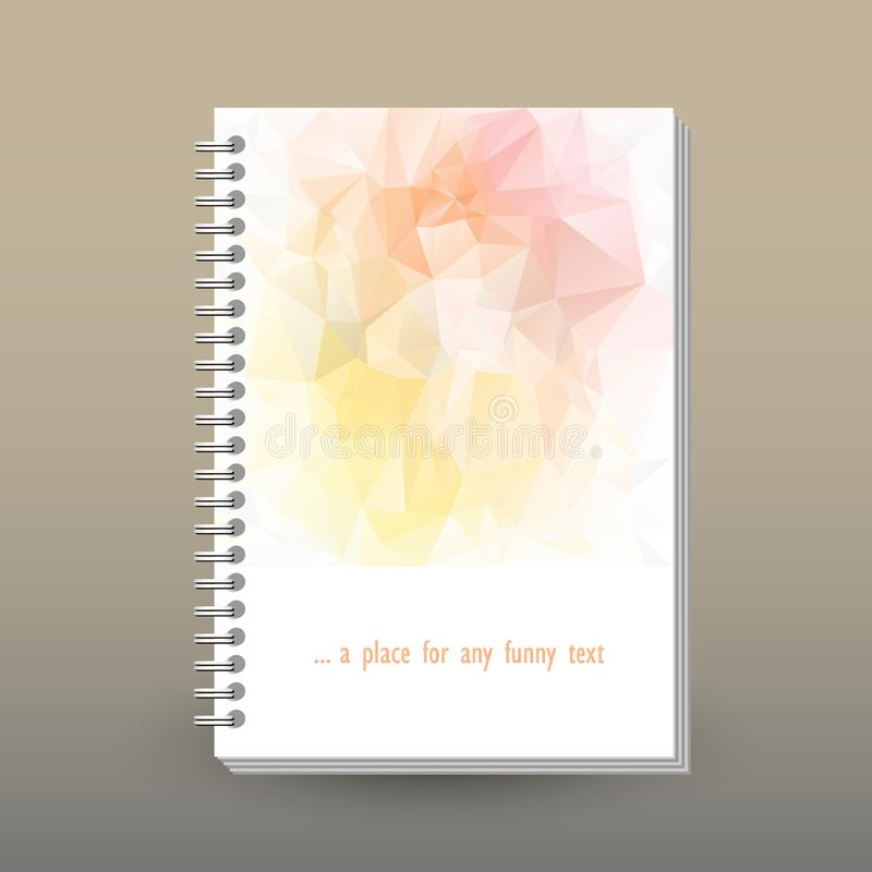 Vector cover of diary with ring spiral binder - format A5 - layout brochure concept - light pink, peach, soft yellow c royalty free illustration