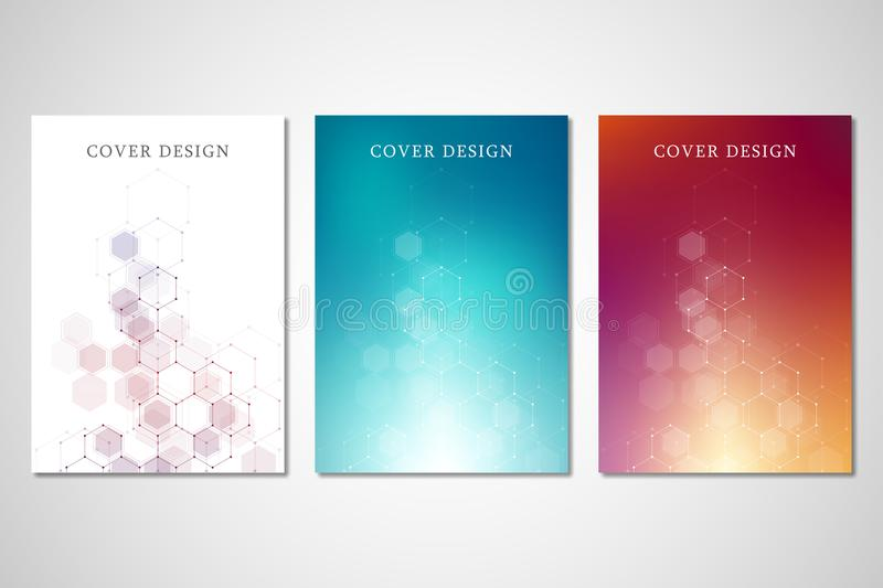 Vector covers or brochure for medicine, science and digital technology. Geometric abstract background with hexagons vector illustration