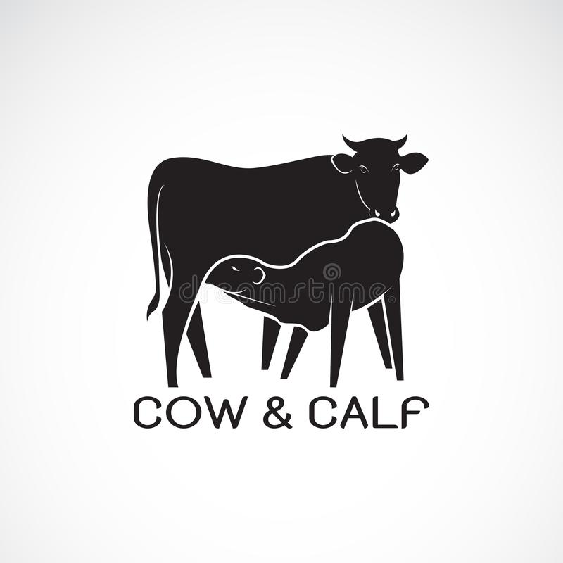 Vector of cow and calf on white background. Farm Animal. cow Icon or logo. Calf is sucking the cow`s milk. Easy editable layered. Vector illustration stock illustration