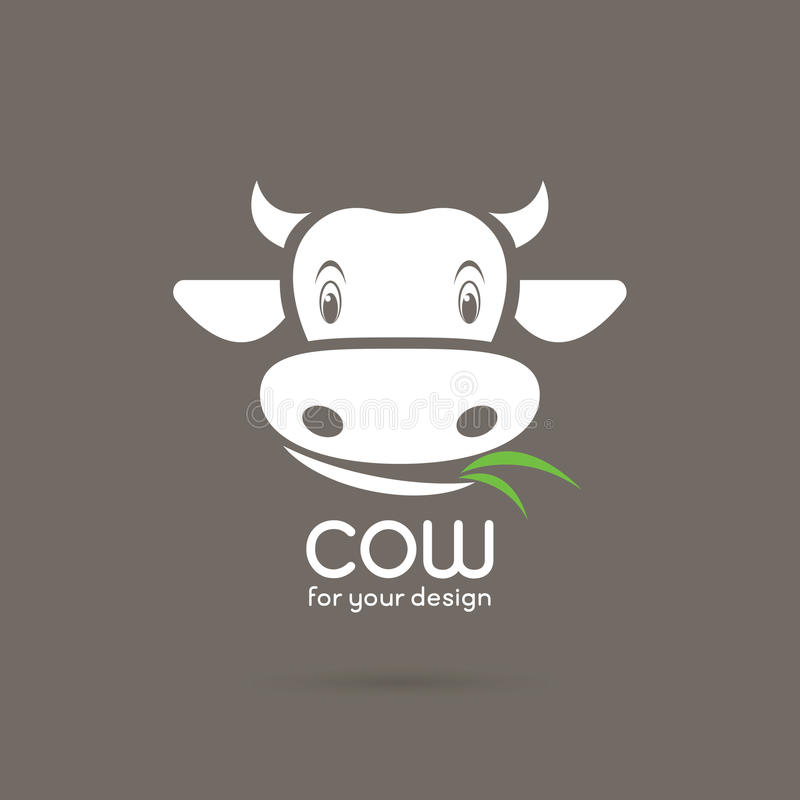 Vector of a cow face with grass on brown background. stock illustration