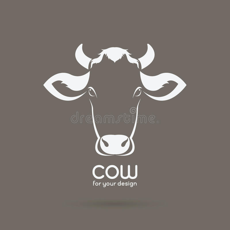 Vector of a cow head design on brown background. stock illustration