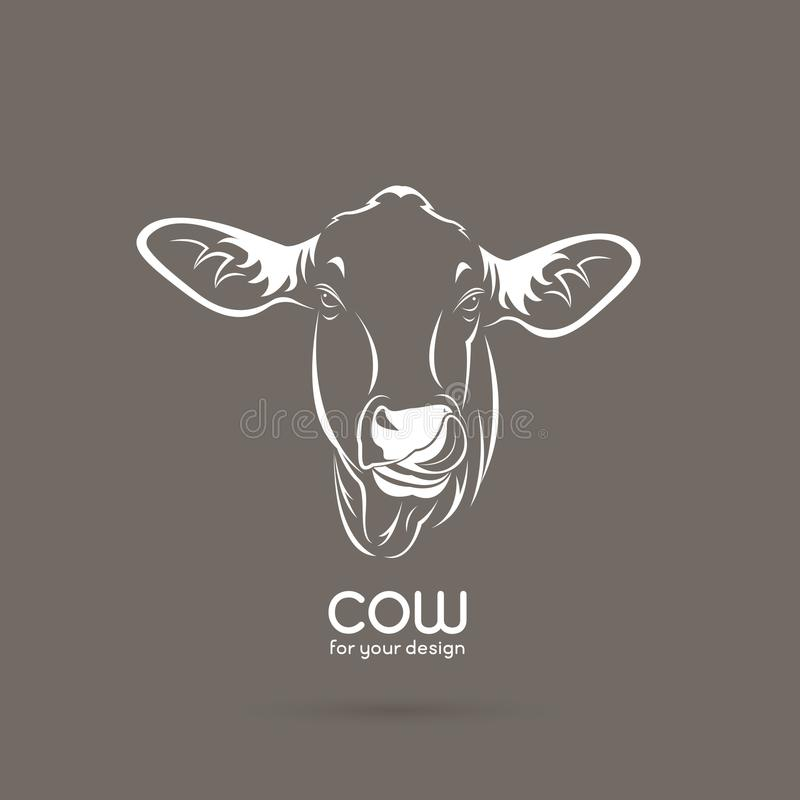 Vector of a cow head design on brown background, Vector cow logo royalty free illustration
