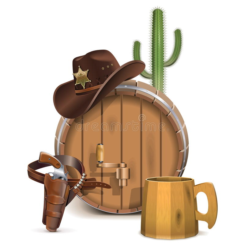 Vector Cowboy Bar Concept. Isolated on white background stock illustration