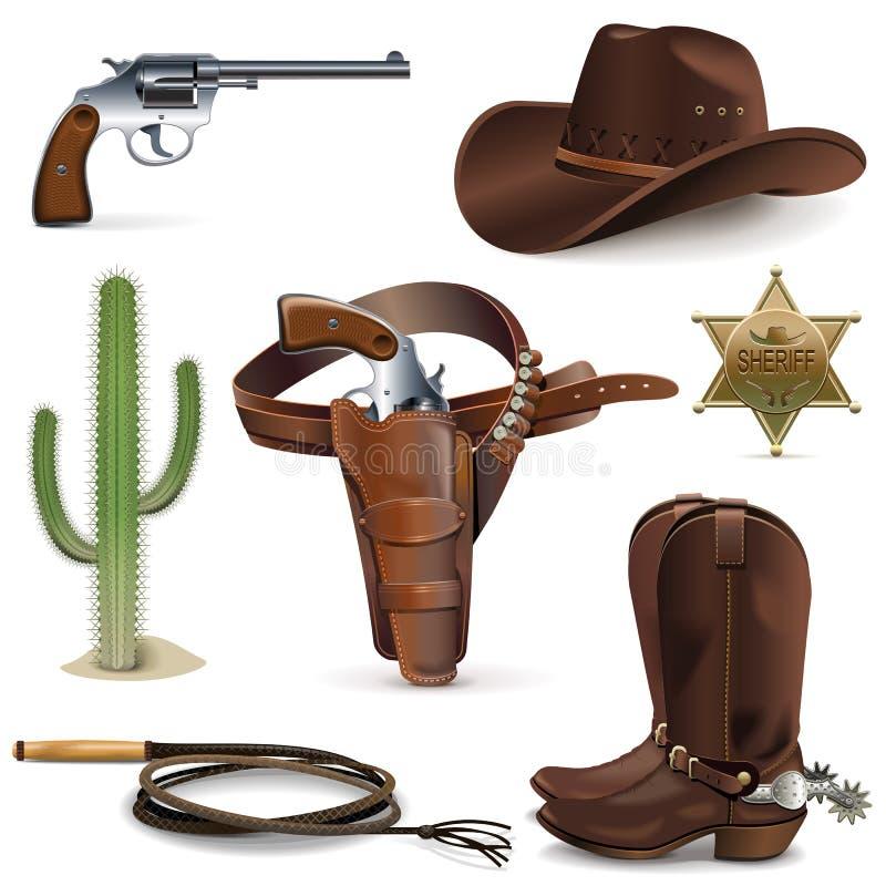 Free Vector Cowboy Icons Royalty Free Stock Image - 49026606
